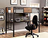 Aprodz Ellison Twin Size Bunk Bed with Work Station (Wood + Metal - Light Walnut and Black)