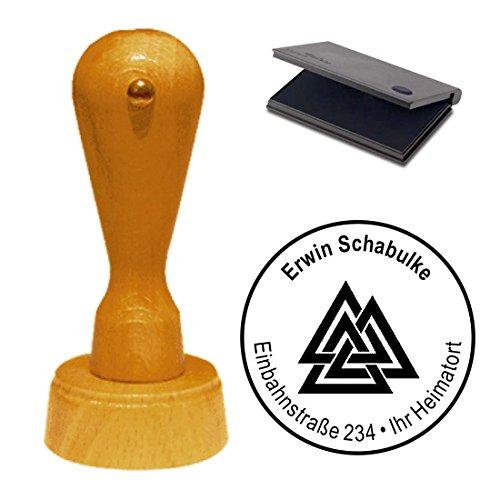 Stempel met kussen « WALKNUT ODINS KNOTEN » adresstempel firmastempel Heide Germane Viking