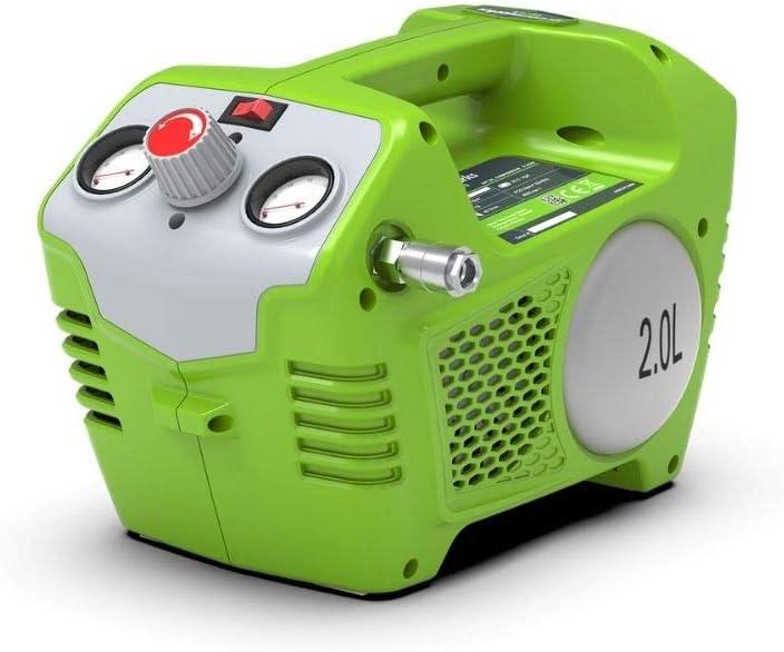 Greenworks Compresor de batería 40V G40AC (Li-Ion 40V 8 bar con salida de 240 Watt 2L de volumen de tanque 40L/min de flujo de aire incluyendo todos los accesorios comunes sin batería y cargador)