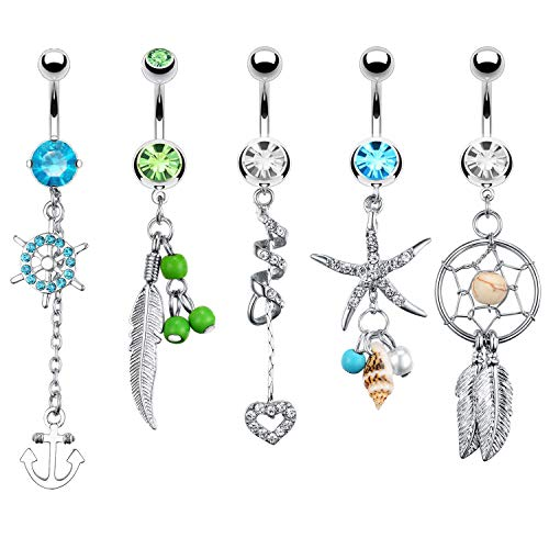 BodyJ4You 5PC Belly Button Rings Anchor Seashell Nautical Dangle Steel Bar 14G Women Navel Piercing