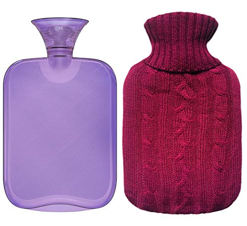 All One Tech Premium Classic Rubber Hot Water Bottle, Transparent Hot Water Bottle With Burgundy Knit Cover