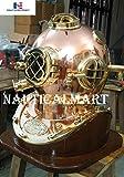Nautical Copper Brass U.S Navy Mark V Diving Divers Helmet W/Base