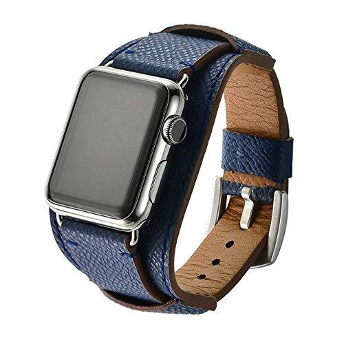 YEDDA Correa de diseño minimalista para iwatch i Watch, correa de piel para Apple Watch de 38 mm, 40 mm, 42 mm, 44 mm, correa de la serie 1/2/3/4/5 pulseira, azul oscuro, 42 mm
