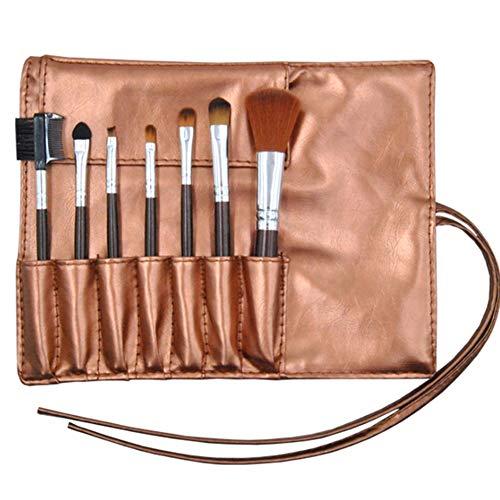 Maquillage brosse ensemble synthétique 7pcs make up brosses Fondation blush fard à paupières mélange LIP Brush visage poudre ombre cosmétique avec sac PU,Brown