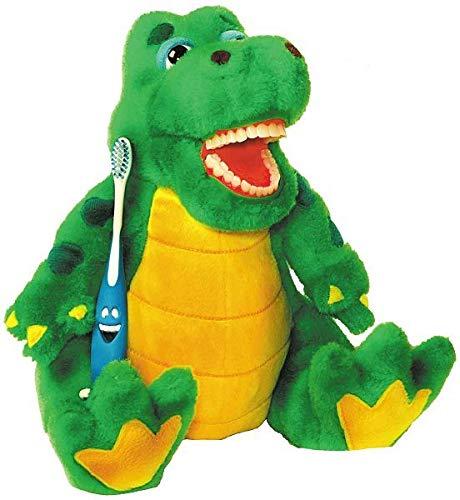 Zahnkönige | Plüschtier Puppe Alligator Krokodil | inkl. 1 Zahnbürste | ca. 20-30cm | Zahnarzt Kinder Deko