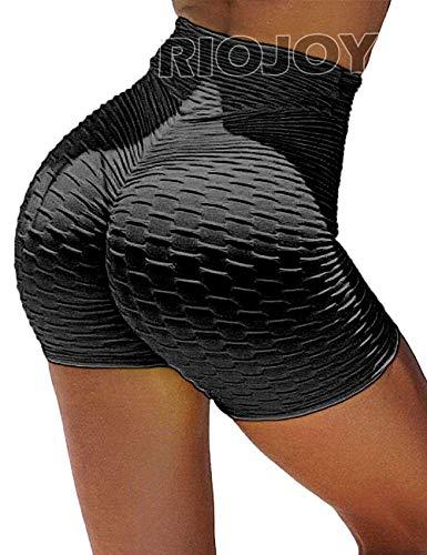 RIOJOY Ruched Booty Shorts for Women Scrunch Butt Push Up Gym Yoga Running Sports Shorts, L, Black