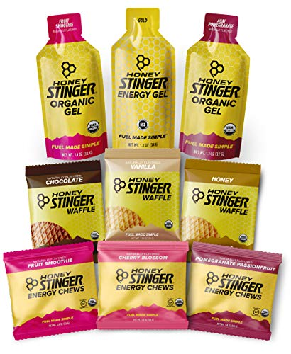 Honey Stinger Training Kit – 9 Count Plus Sticker – Energy Source for Any Activity – 3 Organic Waffles, 3 Packs of Energy Chews & 3 Energy Gels