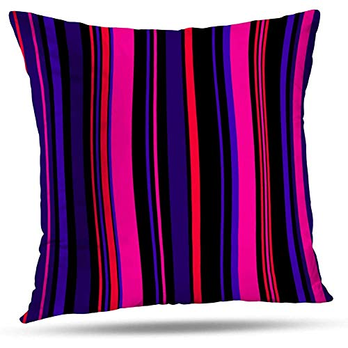 Funda Art Line Throw Pillows, Azul Y Fucsia Retro Rayas De Colores Brillantes Colores Abstractos Funda De Cojín De Color 2Pcs 18 'X18'