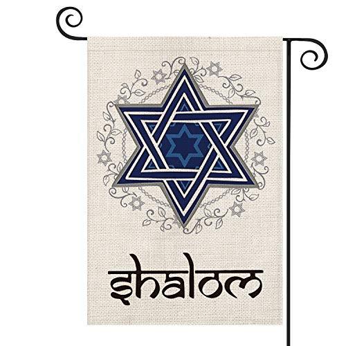 AVOIN Shalom Garden Flag Vertical Double Sized, Star of David Hanukkah Purim Passover Yard Outdoor Decoration 12.5 x 18 Inch