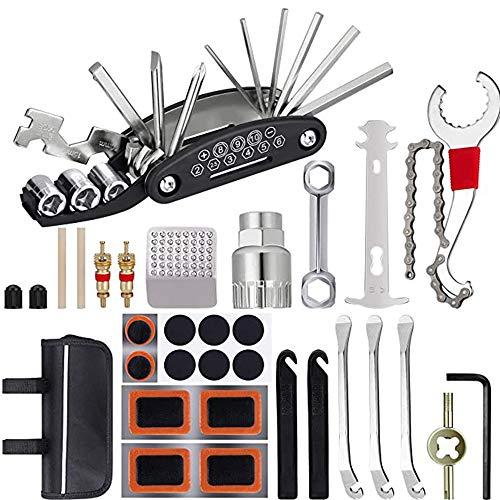 IWILCS Kit Reparación Bicicleta,Herramienta de Reparación Multifunción,Kit de Herramientas para Bicicleta con Kit de Parche y palancas para neumáticos (negro)