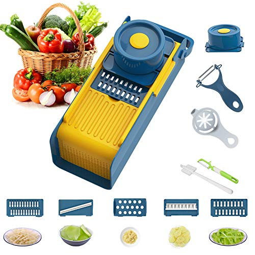 Yibaision Vegetable Chopper Slicer Cutter Multifunction Hanging Veggie Choppers for Onion Potato Fruit Salad Dicer with 5 Blades Hand Protector Peeler Egg Separator Clean Brush