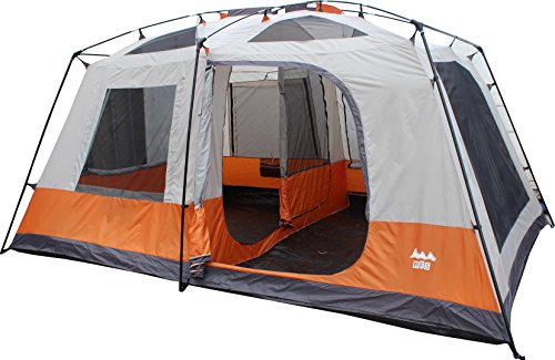 WFS 8-Person 2-Room Cabin Camping Tent with Rain Fly, Orange