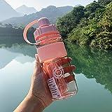 RichAmazon Botellas de agua de 600-2000 ml con pajita al aire libre Fitness botella de agua militar portátil escalada Bicicletas tazas - 600 ml, rosa