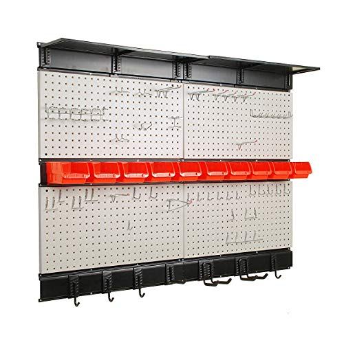 Ultrawall Garage Storage, 48x36 inch Pegboard with Hooks Garage Storage Bins Tool Board Panel Tool Organizer