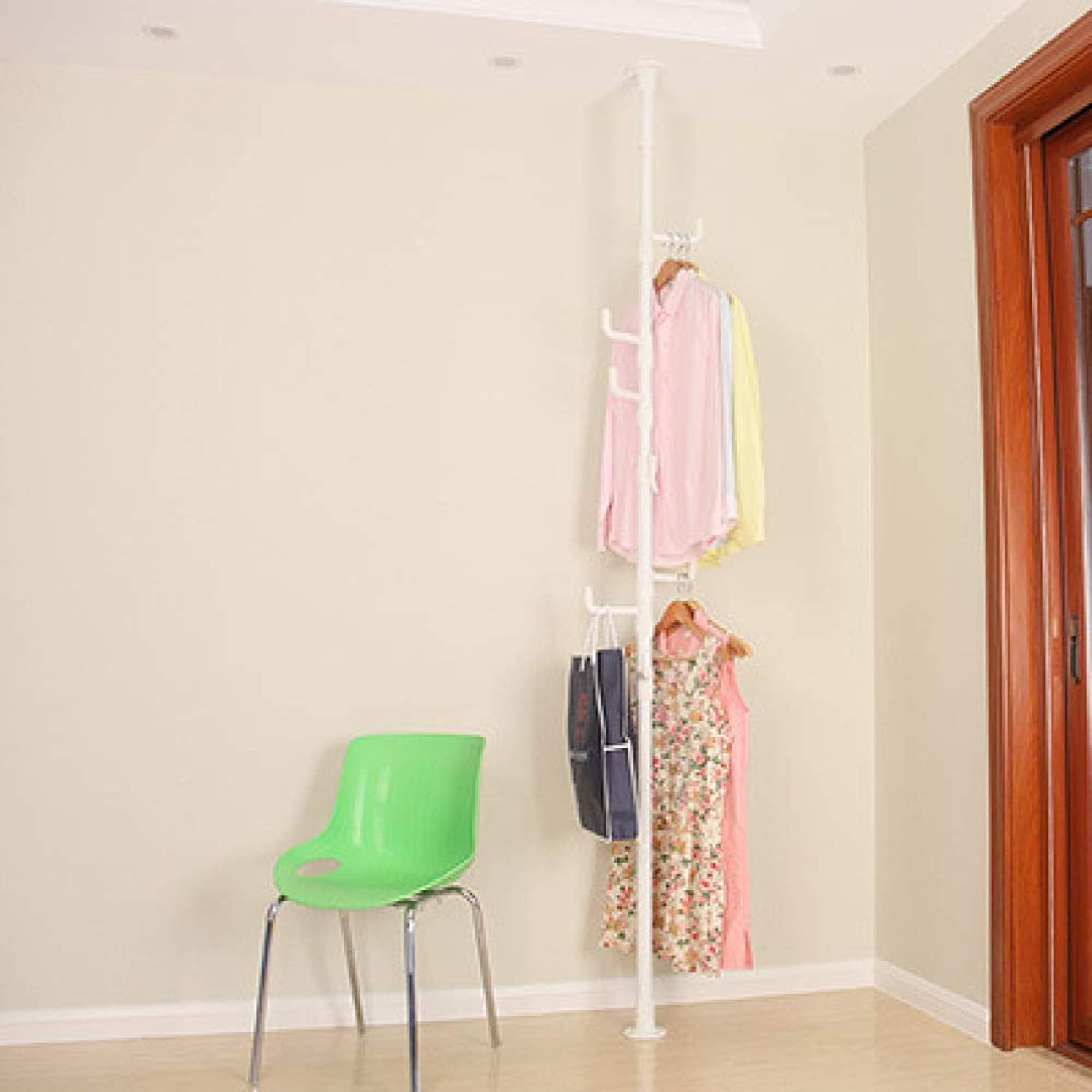 Balcony Telescopic Single Pole Hanger Indoor Coat Rack,White