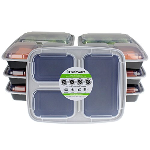 Freshware 3-Compartment Bento Lunch Boxes with Lids (7 Pack), 32 oz, Black