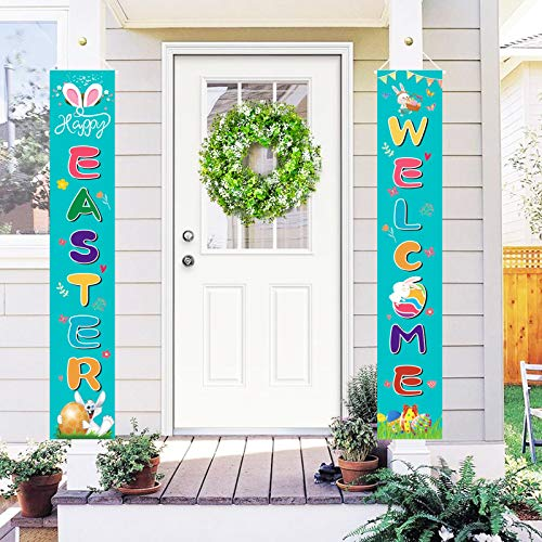 OEAGO Easter Porch Sign Banner Decorations Set Welcome Happy Easter-Bunny-Eggs Banner, Spring Home Party Supplies Hanging Banner for Outdoor Yard Home Door Indoor