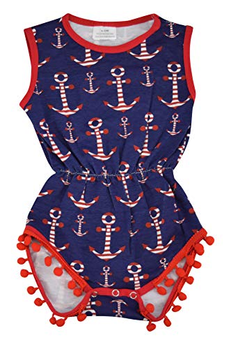 Unique Baby Girls 4th of July Baby Nautical One-Piece Bodysuit (Blue, 0-3 mo/XS)