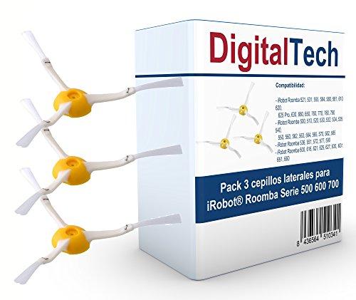 DigitalTech - Pack de Tres cepillos Laterales de Recambio compatibles para iRobot Roomba Serie 500 600 700. Recambios Totalmente compatibles.