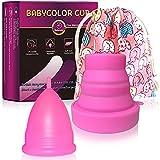 Copa Menstrual - copa menstrual más recomendada-Incluye una bolsa de regalo - Silicona suave reutilizable de grado medicinal (Rosado-L)