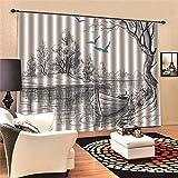 EZEZWSNBB Cortinas Opacas - Canoa Blanca Negra -poliéster 150 x 166 CM Proteger la privacidad - Reducción de Ruido - Adecuado para Salas de Estar Dormitorio Cuarto de los niños