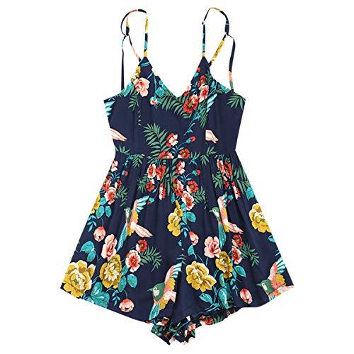 Targogo vrouwen Jumpsuit korte vintage elegante mouwloos Festival uit schouder mode Jumpsuit mode chique V-hals bloemenprint backless jumpsuit playsuit zomer