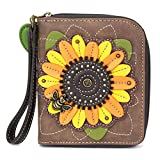 CHALA Handbags- Zip Around Wallet, Wristlet, 8 Credit Card Slots Sturdy Coin Purse for women (Sunflower)
