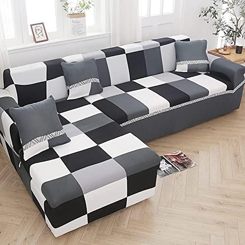 MKQB Funda de sofá elástica en Forma de L para Sala de Estar, Funda de sofá elástica para Muebles modulares, Funda de sofá Antideslizante n. ° 20 1seat-S- (90-140cm