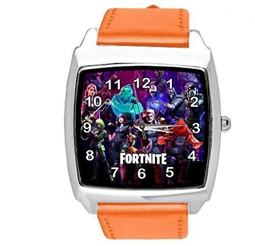 Taport - Reloj cuadrado de piel para fanáticos de Fortnite, color naranja
