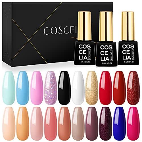 Coscelia Set van 20 kleuren Nagellak Gel Polish Kleuren Gel Nagels Set Nail Art Gel Polish Kit