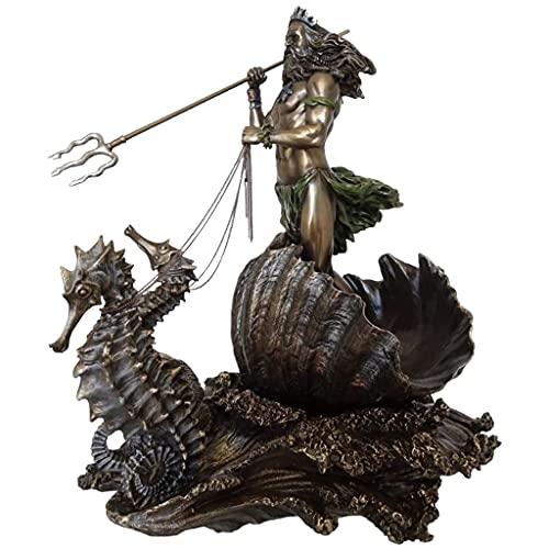 #N/A Harz Kunsthandwerk Griechischen Gott der Meer Statue Bronzed Figurine Poseidon auf Seepferdchen für Home Office Decor