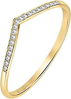 925 Sterling Silver 0.30ctw Gemstone 14K Yellow Gold Plated Curved Stackable Half Eternity Wedding Band Ring for Womens