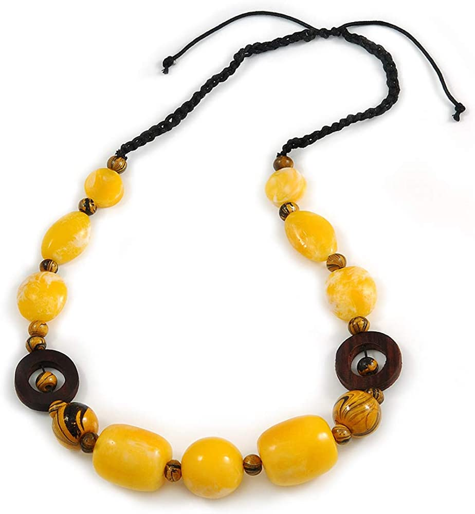 Avalaya Yellow Resin, Wood Bead with Black Cotton Cord Necklace - 64cm L