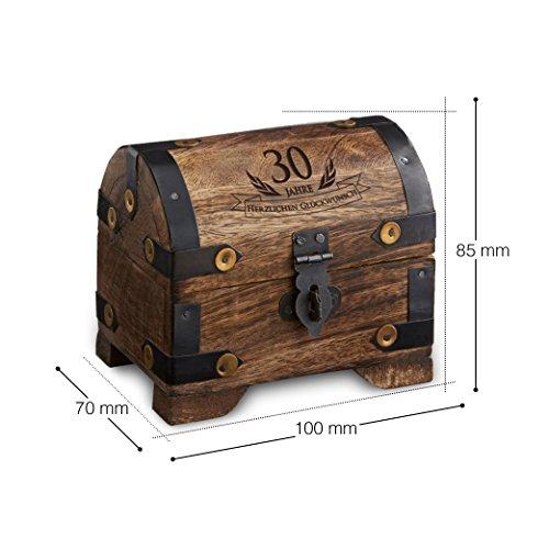 Casa Vivente Kleine Schatztruhe zum 30. Geburtstag – Schmuckkästchen mit Gravur – Aufbewahrungsbox aus dunklem Holz – Verpackung für Gutscheine – Geburtstagsgeschenk für Männer und Frauen - 7