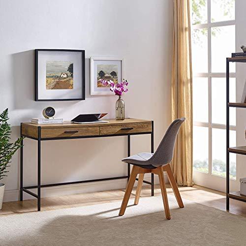Cikonielf - Escritorio para ordenador con 2 cajones, 120 x 48,5 x 76 cm, mesa de estudio, ordenador, ordenador, oficina, de madera, patas de metal