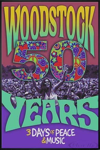 Close Up Woodstock Poster 50 Years (93x62 cm) gerahmt in: Rahmen schwarz