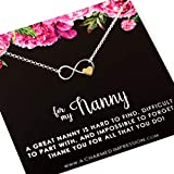Nanny Gifts from Kids • Christmas Gifts for Women • Gift for Nanny Necklace • Sterling Silver Necklace • Babysitter Gratitude and Appreciation Jewelry • Best Nanny Ever • Infinity Gold Heart Charm