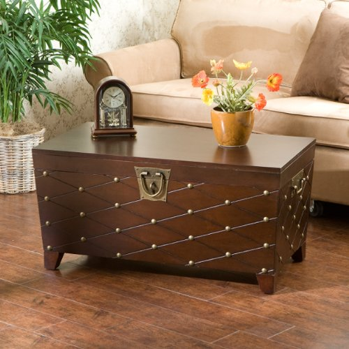 SEI Furniture Nailhead Storage Trunk Coffee Cocktail Table, Espresso