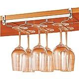 Nanmara ワイングラスホルダー 棚の厚みに応じて調節可能 ワイングラスハンガー 吊り下げ 穴あけ不要 (奥行18cm×3列 6個用)