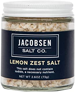 Jacobsen Salt Co. Specialty Sea Salt for Fancy Gourmet Cooking, Infused Sea Salt, Lemon Zest Flavored, 2.7 Ounce
