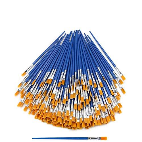 Hslife 120 Pcs Blue Handle Paint Brushes, Paint Brushes Kits Set, Nylon Flat Paint Brushes, Oil Watercolor Artist Painting Brushes