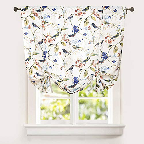 Leeva Balloon Valances Shade Curtains for Kid's Room, Birds Print Semi Blackout Small Drapes Adjustable Curtains for Cafe Studio, 42x63 in, One Panel, Blue