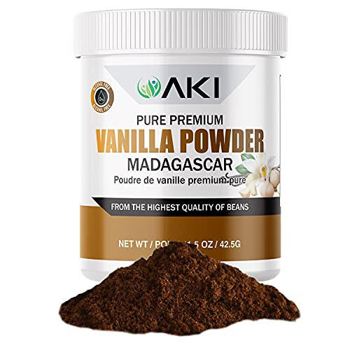AKI Premium Vanilla Extract Powder from Madagascar Beans for Delicious Flavouring, Cooking, Baking, Drinks, Tea, Coffee, Smoothies, Cocktails | Sugar Free & Alcohol Free (1.5oz / 42.5g)