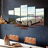 5 piezas de lienzo Cuadro compuesto por 5 lienzos impresos en HD, utilizados para decoración del hogar y carteles enmarcados 100x55cm coche clásico de época Mercedes Benz