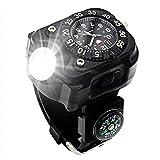 XHLLX Reloj con Linterna LED, 5W IPX-6 Impermeable, Linterna Impermeable, Reloj De Pulsera con Brújula, Mejor para Correr La Escalada De Montaña Supervivencia Senderismo Patrulla De Caza