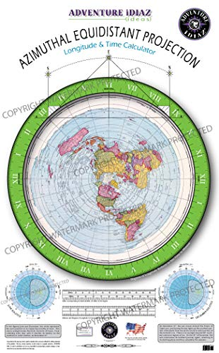 Azimuthal Equidistant Projection of the World - Flat Earth Map (No Dial Arms or Instructions)