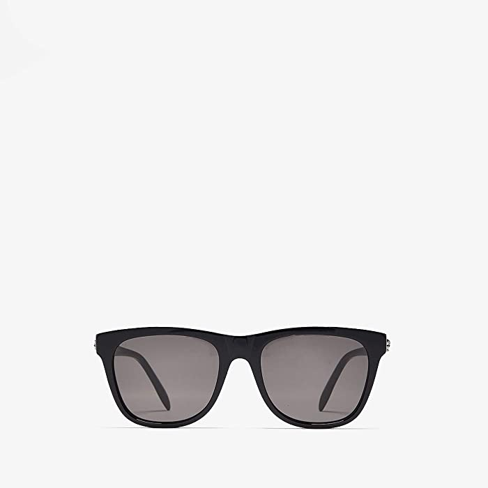 Alexander McQueen  AM0158S (Shiny Black/Grey) Fashion Sunglasses