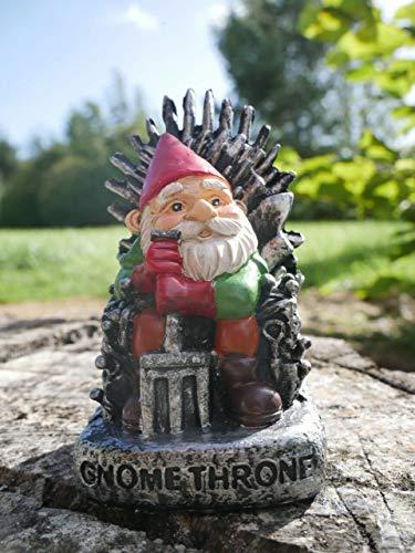 garden mile® Gnome Throne Garden Gnome Figurine for the Home or Garden...