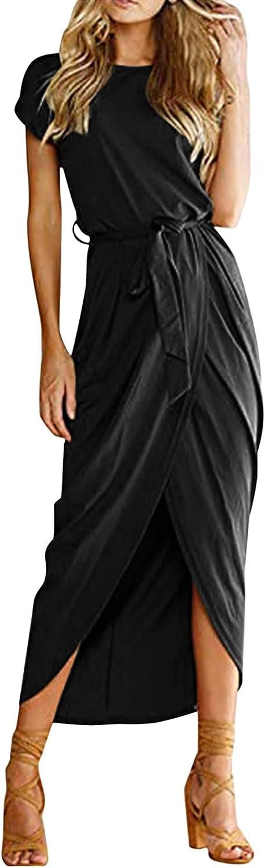 ManxiVoo Women's Summer Short Sleeve T Shirt Dress Casual Empire Waist Midi Wrap Dresses with Belt