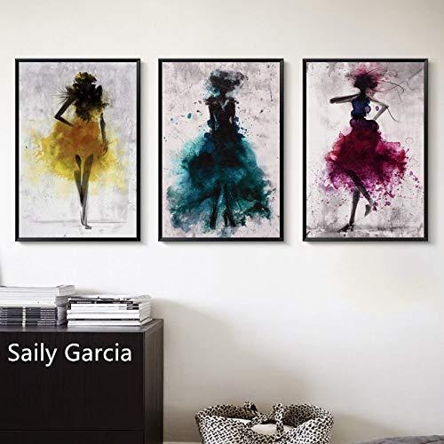 Wleyy abstracte kunstschilderij voor dames, in geel, blauw, roze, rood, jurk, dans, kunstdruk, canvas, afbeelding, huis, muur, kunst, kamer